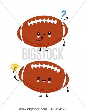 Cute Happy American Football Rugby Ball With Question Mark And Idea Lightbulb. Vector Flat Cartoon C