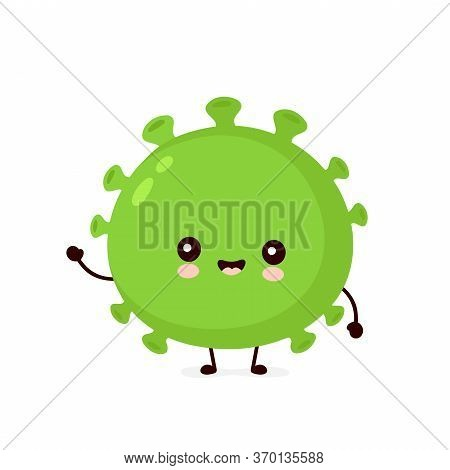 Cute Happy Good Probiotic Bacteria. Vector Flat Cartoon Character Illustration Icon Design.isolated