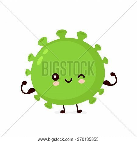 Cute Happy Strong Good Probiotic Bacteria Show Muscle. Vector Flat Cartoon Character Illustration Ic