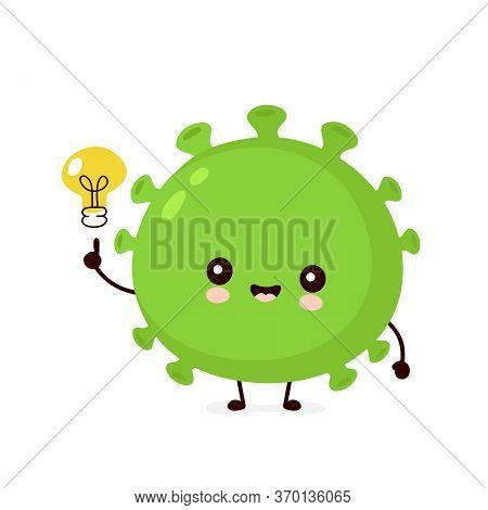 Cute Happy Good Probiotic Bacteria With Lightbulb. Vector Flat Cartoon Character Illustration Icon D