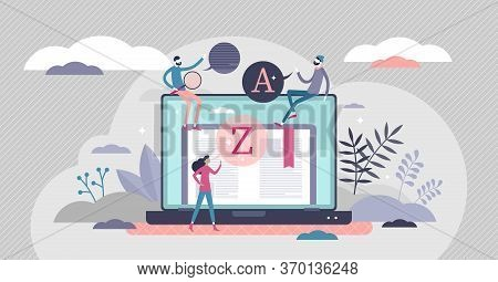 Vocabulary Vector Illustration. Words And Grammar Knowledge Skill Flat Tiny Persons Concept. Get Wid