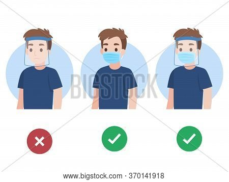 Set Of Young Man Wearing A Surgical Protective Medical Face Mask And Face Shield Color Speech Bubble