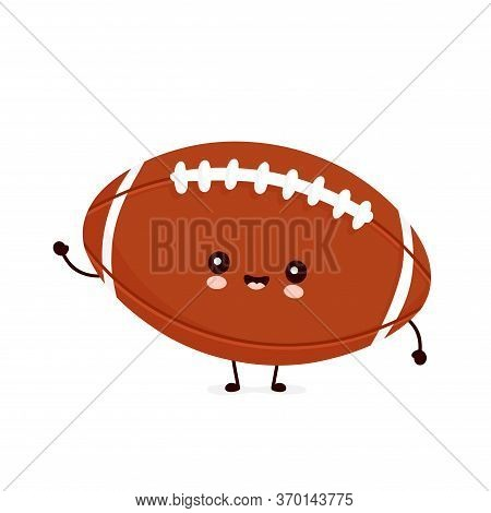 Cute Happy American Football Rugby Ball. Vector Flat Cartoon Character Illustration Icon Design.isol