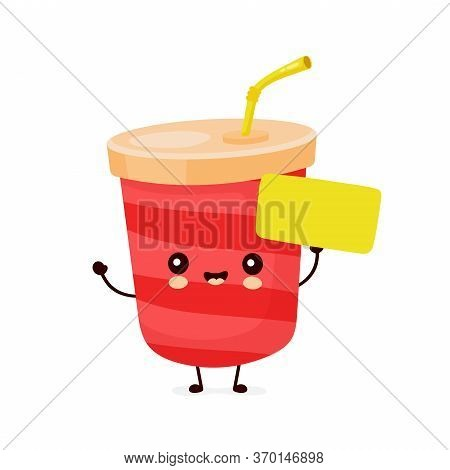 Cute Happy Soda Water Cup With Empty Sign. Vector Flat Cartoon Character Illustration Icon Design.is