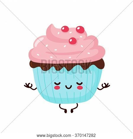 Cute Happy Smiling Cupcake Meditate In Yoga Pose. Vector Flat Cartoon Character Illustration Icon De