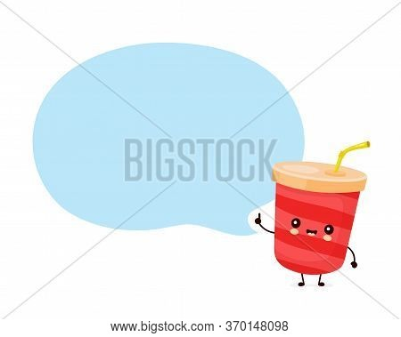 Cute Happy Soda Water Cup With Speech Bubble. Vector Flat Cartoon Character Illustration Icon Design