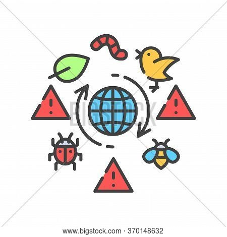 Biodiversity Loss Color Line Icon. Extinction Animal Species. Environmental Problems. Sign For Web P