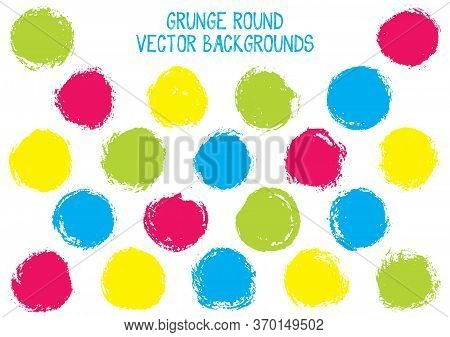Vector Grunge Circles. Dry Post Stamp Texture Circle Scratched Label Backgrounds. Circular Tag, Chal