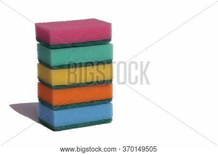 Colored Sponges For Cleaning Dishes Isolated On A White Background. Sponges For Washing Dishes.