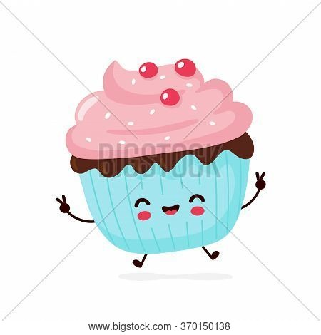Cute Happy Smiling Cupcake. Vector Flat Cartoon Character Illustration Icon Design.isolated On White