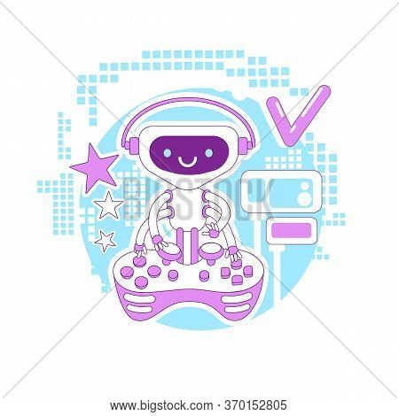 Video Game Bot Thin Line Concept Vector Illustration. Robot Playing With Console Joystick 2d Cartoon