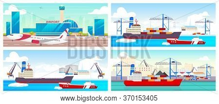 Airport And Seaports Flat Color Vector Illustrations Set. Airline Runway, Polar Stations And Shipyar