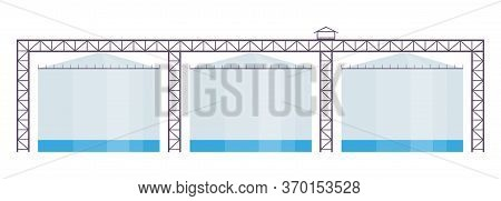 Industrial Reservoirs Cartoon Vector Illustration. Manufacturing Plant, Chemical Plant Tanks Flat Co