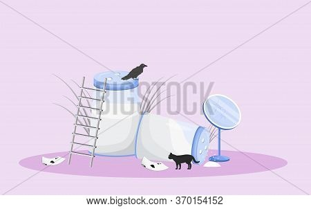 Bad Omens Flat Concept Vector Illustration. Spilled Salt And Broken Mirror With Black Cat And Ace Of