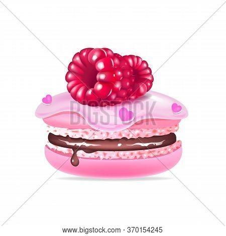 Macaroon, Creamy Dessert With Raspberries Realistic Vector Illustration. Pink Meringue, Tasty Biscui