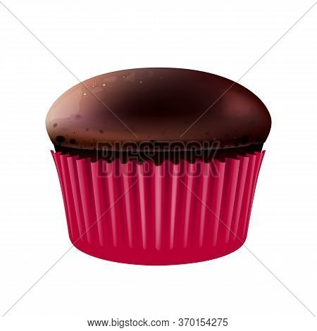 Chocolate Muffin Realistic Vector Illustration. Flour Confection, Sweet Stuff, Bakery. Sugary Pastry
