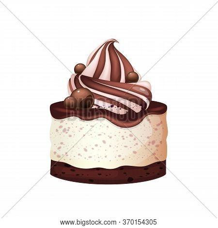 Cheesecake, Chocolate Dessert Realistic Vector Illustration. Sweet Bakery, Sugar Confectionery. Glaz
