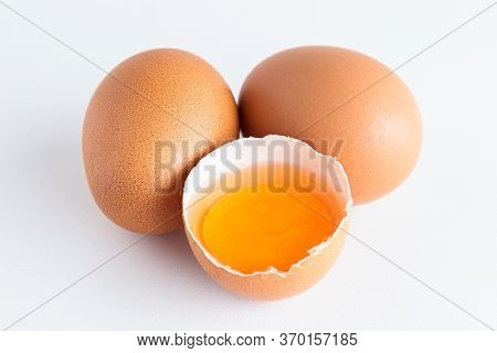 Organic Eggs Have Been Peeled Off, Seeing Fresh Yolks. The Concept Of Food That Is Beneficial To The