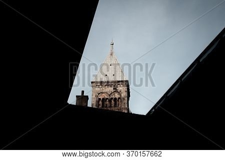 The Roof Of The Lund Church Tower Steeple Is Visible From Many Places In  Lund, Sweden