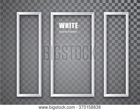 White Frame Vertical Mockup Template Isolated On Transparent Ackground. White Blank Picture Frames.