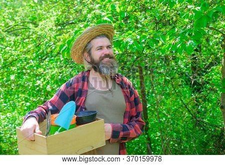 Bearded Man With Gardening Tools. Plants. Garden Tools. Gardening. Eco-farm. Work In Garden. Attract