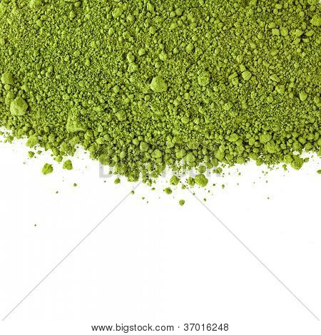border of powdered green tea  isolated on white background