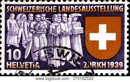 02 08 2020 Divnoe Stavropol Territory Russia The Postage Stamp Switzerland 1939 National Philatelic