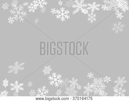 Winter Snowflakes Border Minimal Vector Background.  Macro Snowflakes Flying Border Design, Holiday