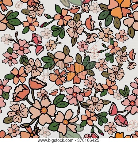 Simple Seamless Floral Pattern With Colorful Flowers. Fashionable Milflers. Elegant Template For Fas