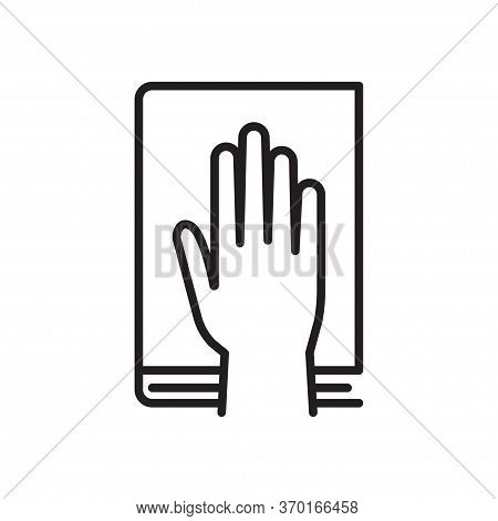 Give Oath Line Icon. Palm On Holy Bible. Judiciary Concept. Vector Illustration, Isolated On A White