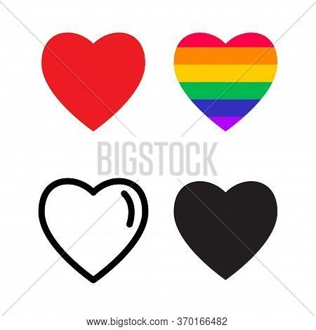 Heart Shape Love Icon. Rainbow Heart, Lgbt Community Sign. Vector Illustration