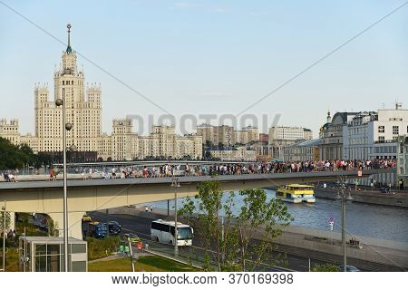 Moscow, Russia -- June 23, 2018: Floating Bridge In Zaryadye Park In Moscow Centre. Zaryadye Is One