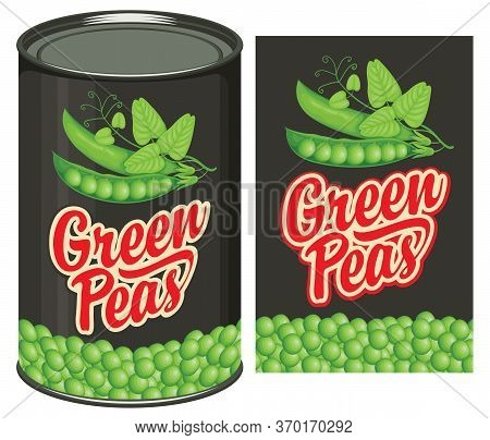 Green Peas Label And Tin Can With This Label. Vector Banner In Retro Style For Canned Food, Long-ter