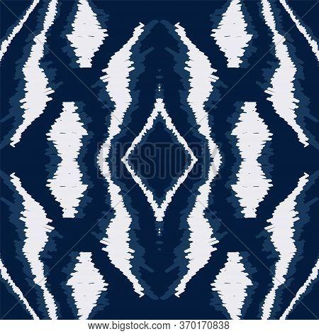 Indigo Tribal Vintage Vector Seamless Pattern. Uzbek Stripe Chevron Background. Textile Japanese Pat