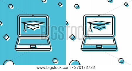 Black Graduation Cap And Laptop Icon. Online Learning Or E-learning Concept Icon Isolated On Blue An