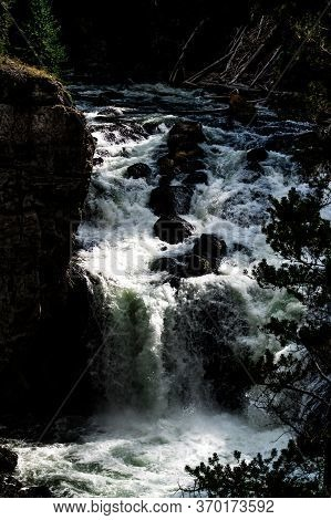 At Firehole Waterfalls In Yellowstone In Wyoming