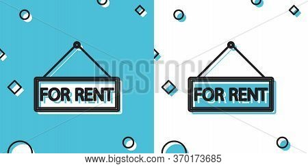 Black Hanging Sign With Text For Rent Icon Isolated On Blue And White Background. Random Dynamic Sha
