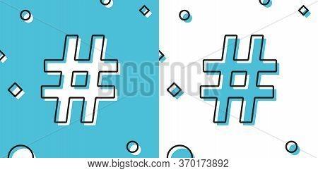 Black Hashtag Icon Isolated On Blue And White Background. Social Media Symbol. Modern Ui Website Nav