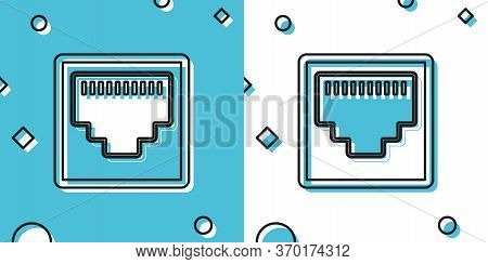 Black Network Port - Cable Socket Icon Isolated On Blue And White Background. Lan Port Icon. Etherne