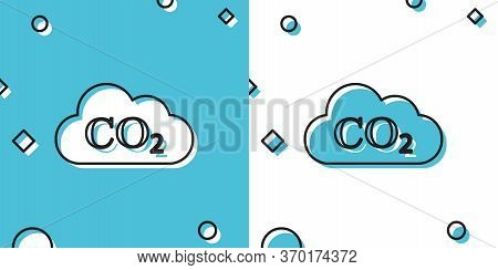 Co2 Emissions In Cloud Icon On Blue And White Background. Carbon Dioxide Formula Symbol, Smog Pollut