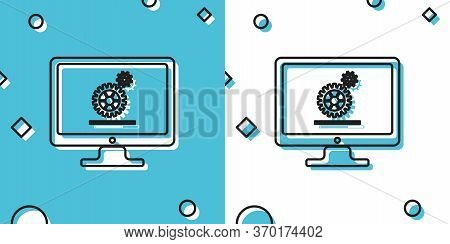 Computer Monitor Update Process With Gear Progress And Loading Bar Icon On Blue And White Background