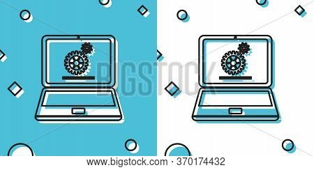 Black Laptop And Gears Icon On Blue And White Background. Laptop Service Concept. Adjusting App, Set