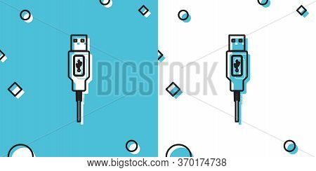 Black Usb Cable Cord Icon Isolated On Blue And White Background. Connectors And Sockets For Pc And M