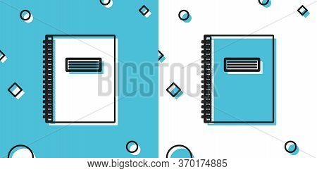 Black Notebook Icon Isolated On Blue And White Background. Spiral Notepad Icon. School Notebook. Wri