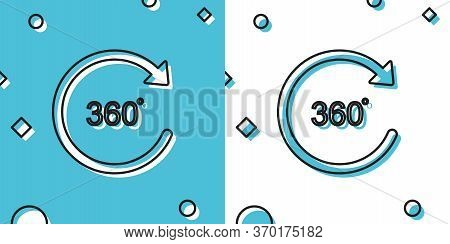 Black Angle 360 Degrees Icon Isolated On Blue And White Background. Rotation Of 360 Degrees. Geometr