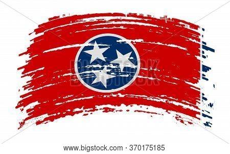 Tennessee Flag In Grunge Brush Stroke, Vector