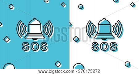 Black Alarm Bell And Sos Lettering Icon Isolated On Blue And White Background. Warning Bell, Help Si