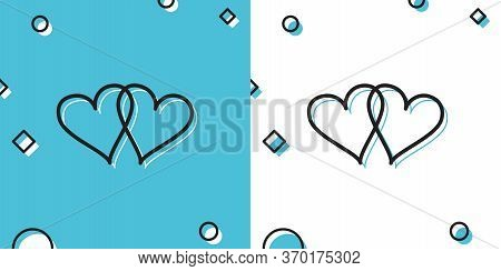 Black Two Linked Hearts Icon On Blue And White Background. Heart Two Love Sign. Romantic Symbol Link
