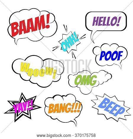 Jpeg Comic Book Explosion Elements Collection. Comic Wording Sound Effect, Set Speech Bubbles Design