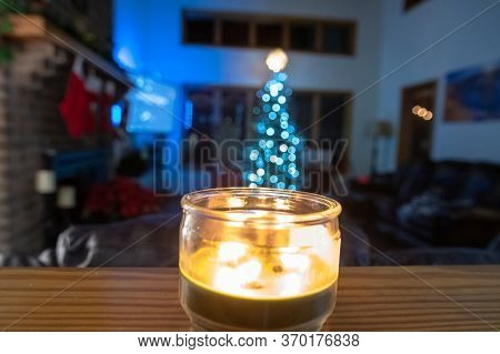 Home Indoor Decorated For Christmas Holiday Season